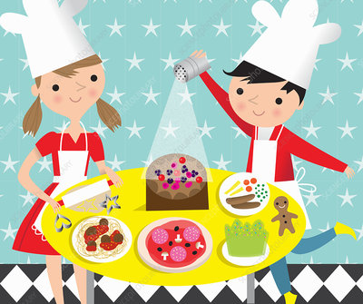 Children cooking and baking favourite food, illustration