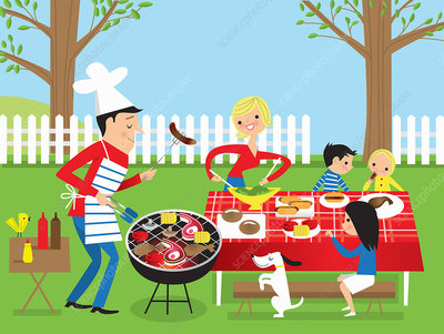 Family having barbecue in garden, illustration