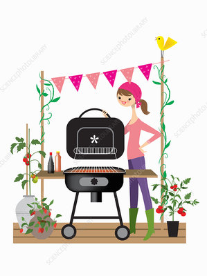 Woman setting up barbecue for party, illustration