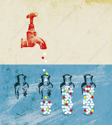Pills dripping from faucet, illustration