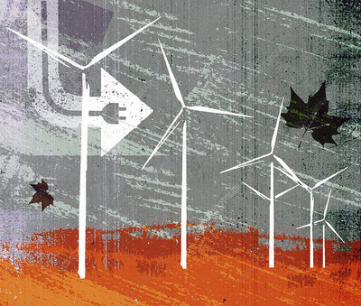 Electric plug and wind blowing wind turbines, illustration
