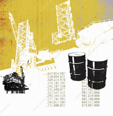 Oil barrels with stock prices, illustration