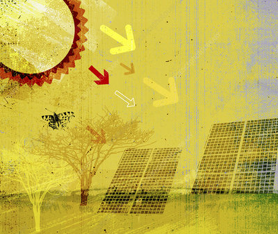 Sun's rays pointing at solar panels, illustration