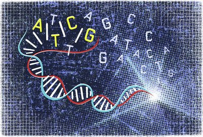 Double helix and genetic code, illustration