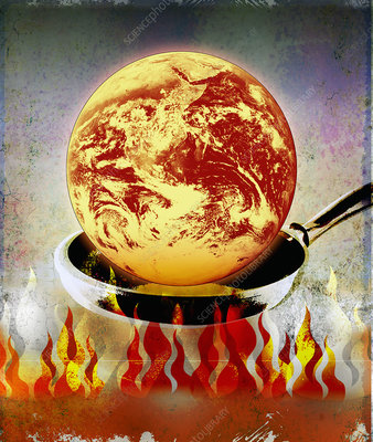 Globe burning in pan over flames, illustration