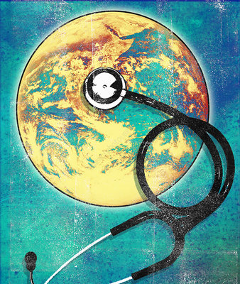 Stethoscope on planet earth globe, illustration