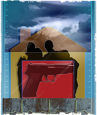 Gun over silhouette of family in house, illustration