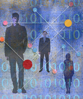 Business people with binary code data, illustration