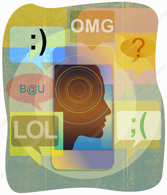 Man surrounded by text messaging symbols, illustration