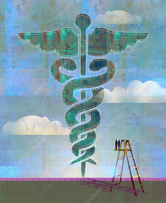 Couple on ladder looking at enormous caduceus, illustration