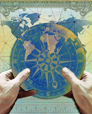 Hands holding navigation compass, illustration