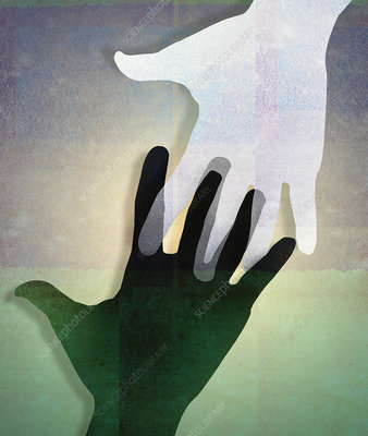 Black and white hands connecting, illustration