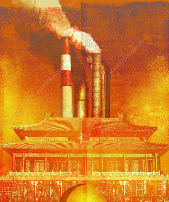 Air pollution behind Chinese temple, illustration