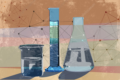 Network pattern connecting science beakers, illustration