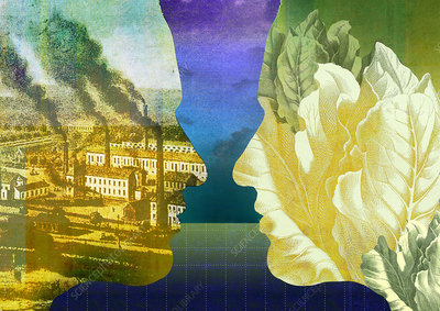 Two profiles as pollution and environment, illustration
