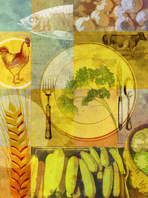 Collage of healthy food and place setting, illustration