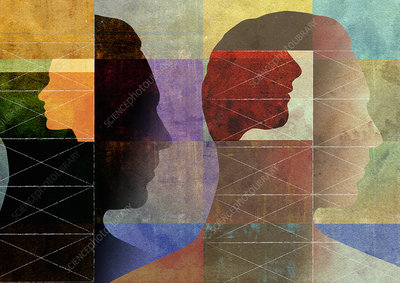 Men's profiles in abstract network pattern, illustration