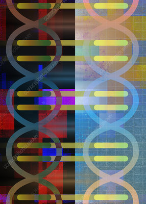 Abstract pattern of DNA double helix, illustration
