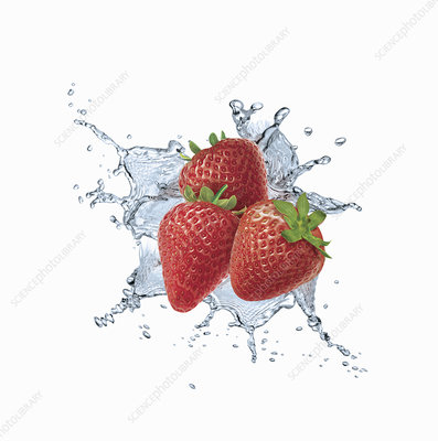 Water splashing around strawberries, illustration