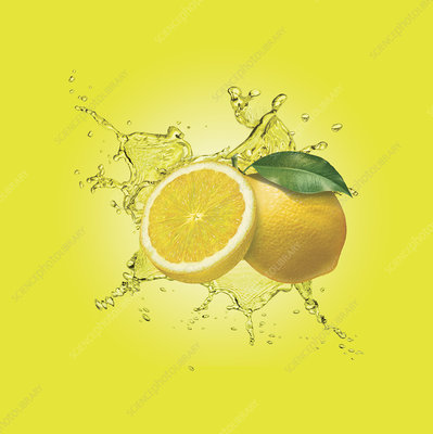 Water splashing around lemons, illustration