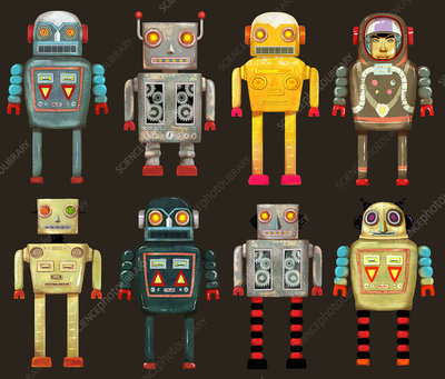 Variety of robots in a row, illustration