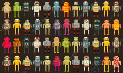 Pattern of variety of robots in a row, illustration