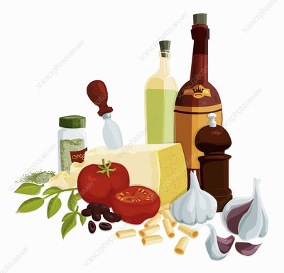 Fresh Italian cooking ingredients, illustration