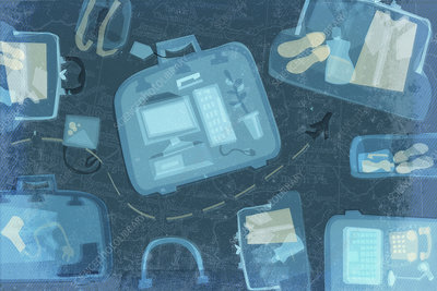 Airplane travel x-ray scan of suitcases, illustration