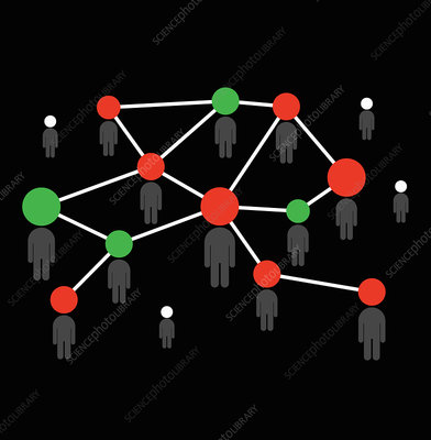 Network of lines to and dots connecting people, illustration