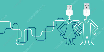 Male and female USB connections, illustration