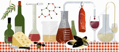 Molecules and experiments with food and drink, illustration
