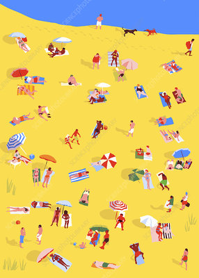 People sunbathing relaxing on sunny beach, illustration