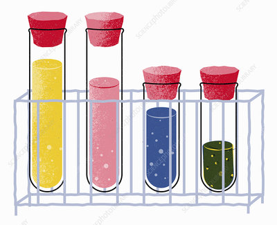 Test tubes containing different chemicals, illustration