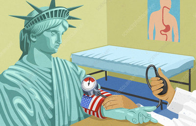 Doctor visiting Statue of Liberty, illustration