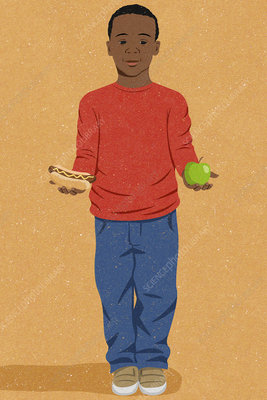 Boy with choice of healthy or unhealthy food, illustration