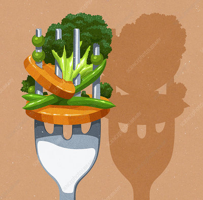 Close up of lots of vegetables on fork, illustration