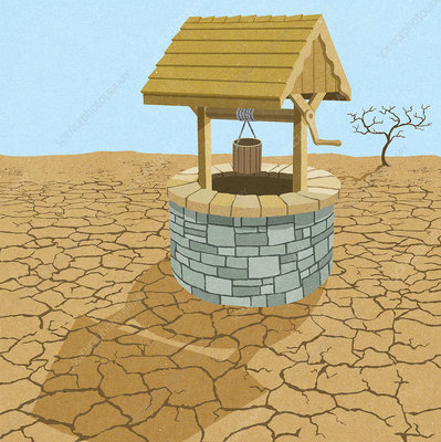 Water well in desert, illustration
