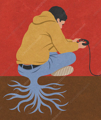 Teenage boy playing with videogames, illustration
