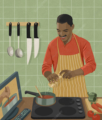 Man cooking following recipe from TV program, illustration