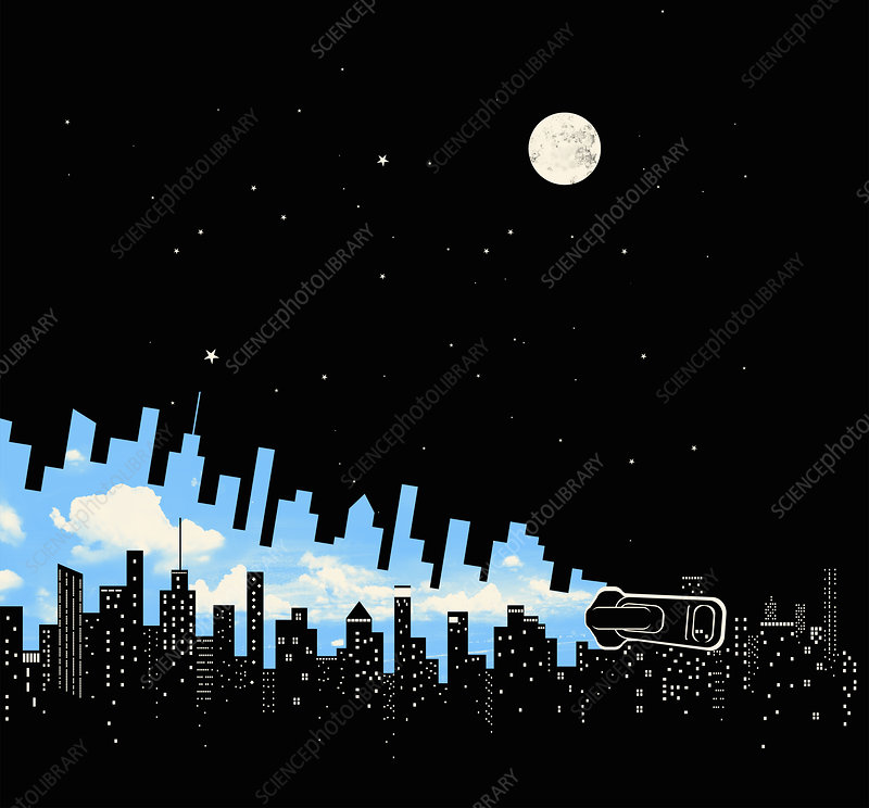 Zipper changing city from night into day, illustration