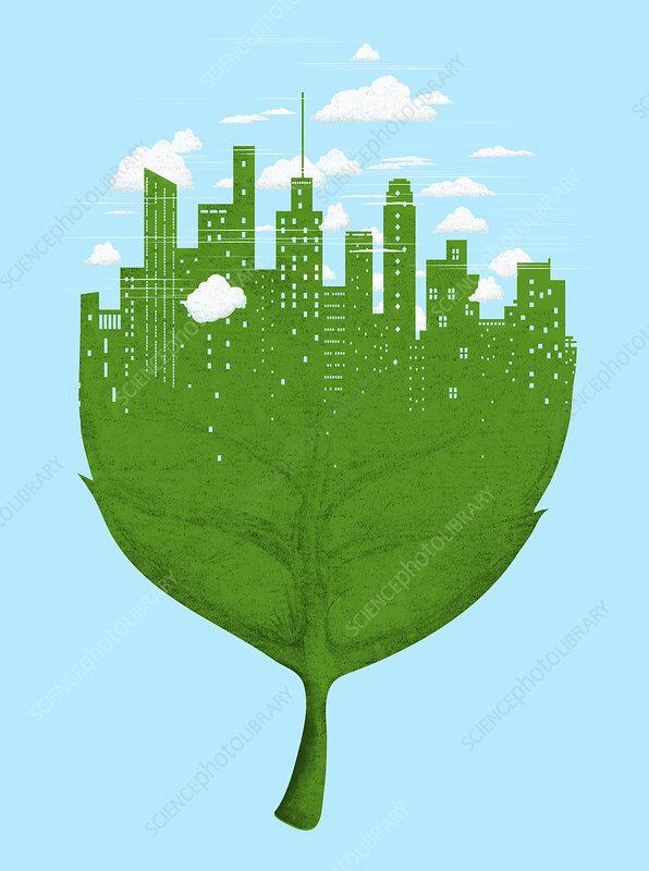 City skyline on green leaf, illustration