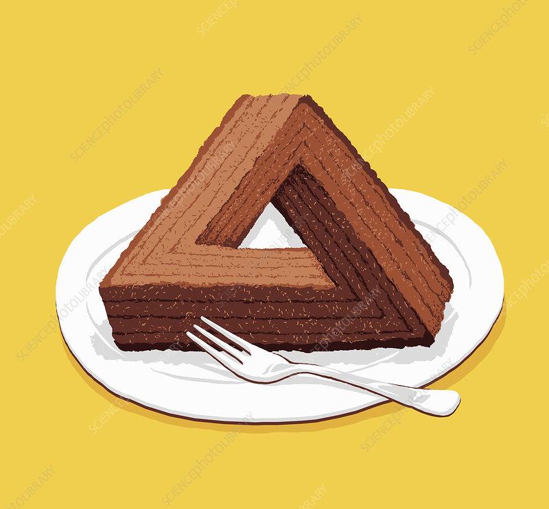 Optical illusion triangular chocolate cake, illustration