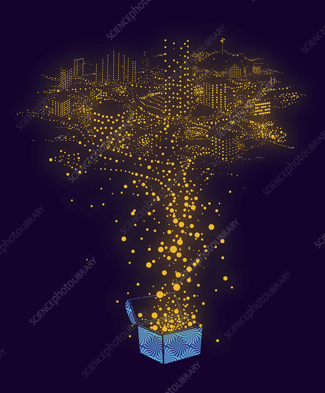 Illuminated dots forming city, illustration