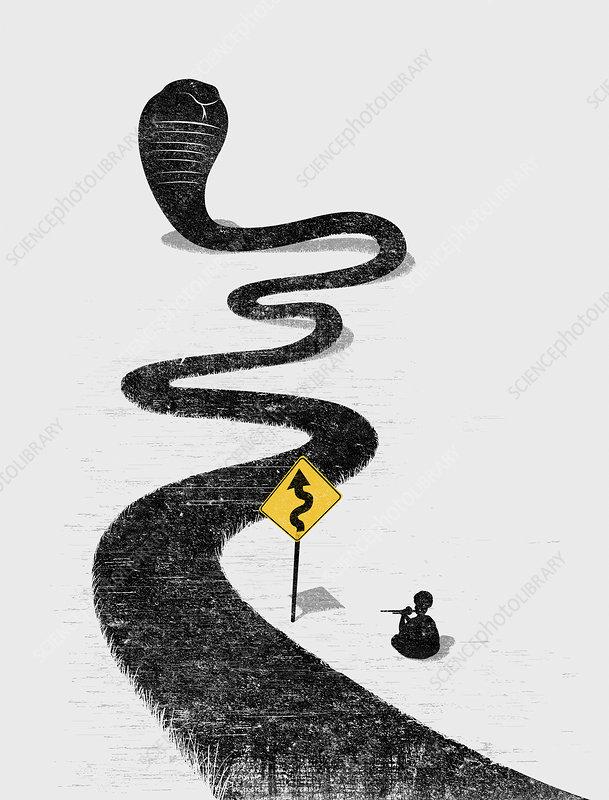 Snake charmer charming winding snake road, illustration
