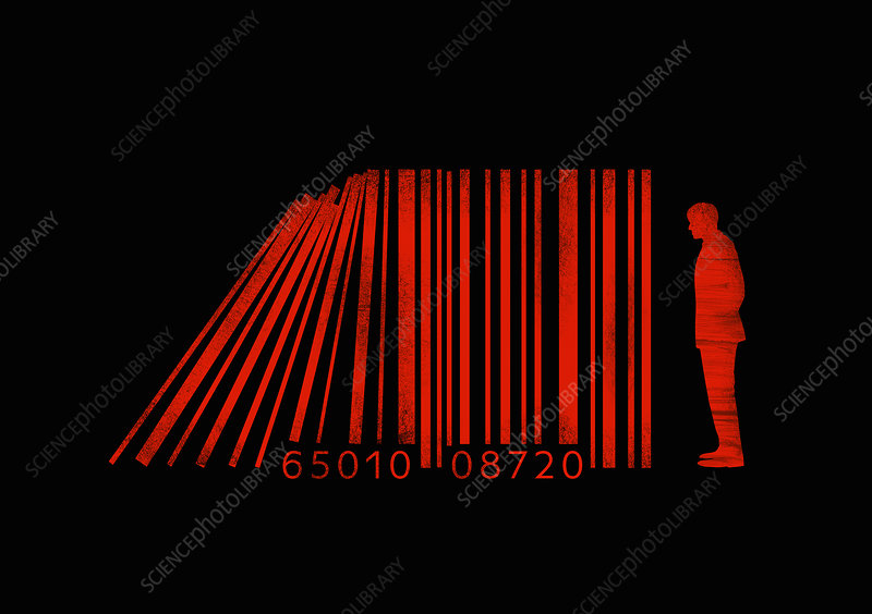 Businessman standing beside barcode lines, illustration