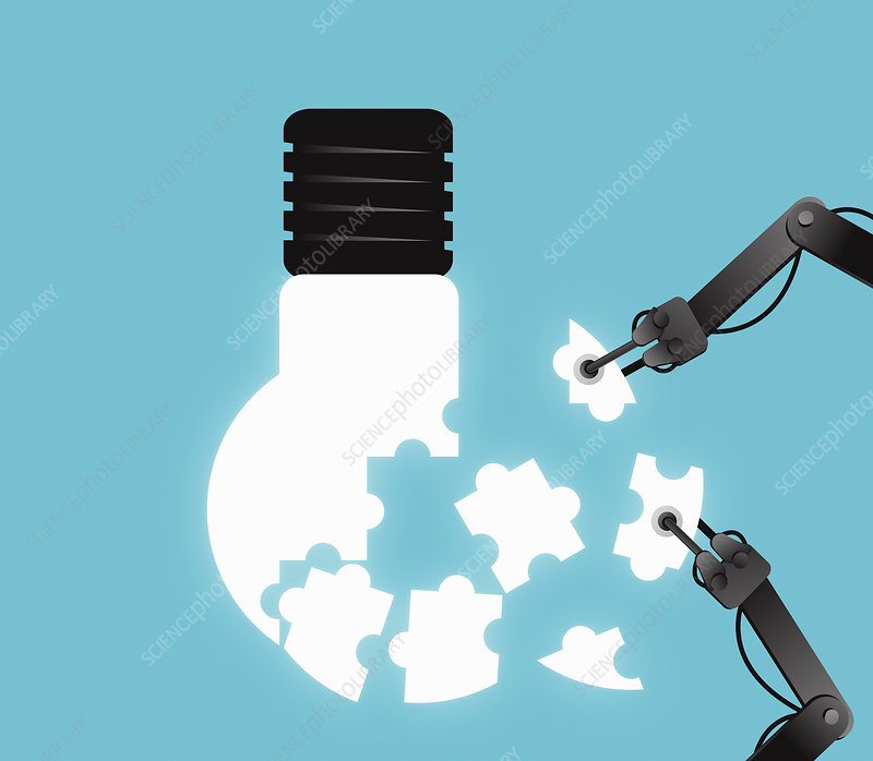 Robot arms assembling jigsaw pieces into bulb, illustration