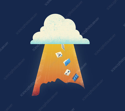 Cloud computing icons falling, illustration