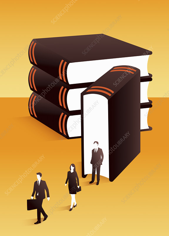 Lawyers emerging from large book, illustration