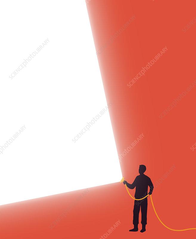 Man shining bright beam of light, illustration