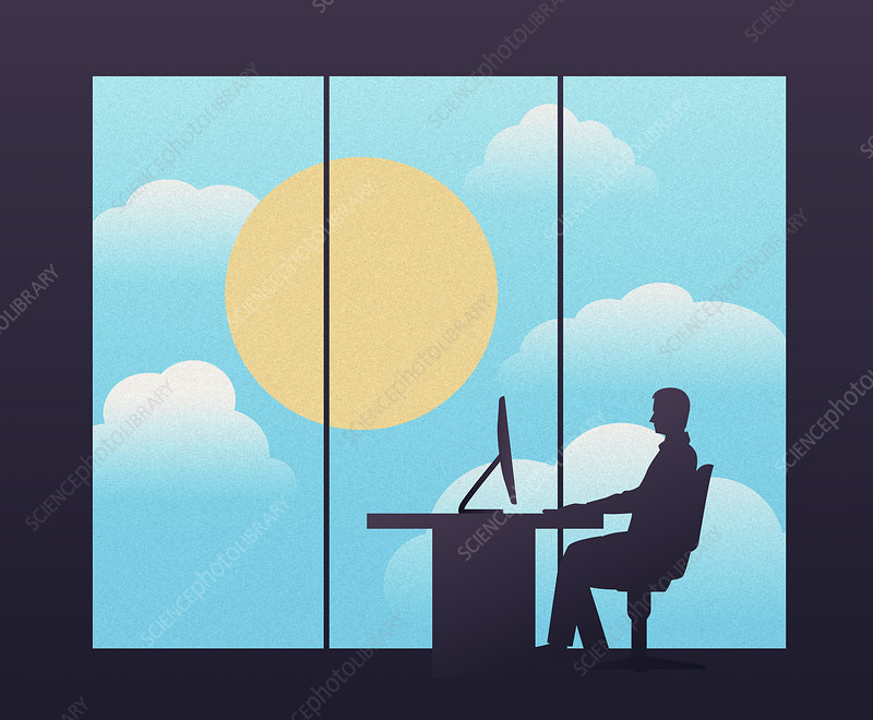 Businessman sitting at desk in modern office, illustration